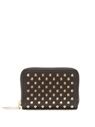Christian Louboutin Panettone Zip Around Leather Coin Purse Black Gold