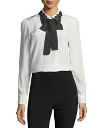 Kate Spade Lace Collar Silk Self Tie Bow Shirt Cream