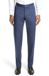 Canali Men's Big And Tall Flat Front Stretch Cotton Trousers Navy