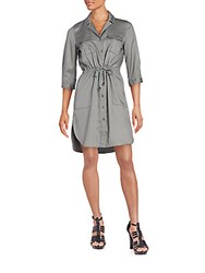 French Connection Solid Notched Lapel Dress Tribal Grey