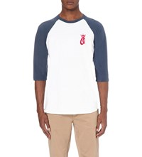 Obey Dewallen Crown Cotton Jersey Top White Navy