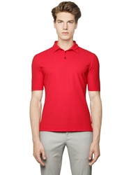 Incotex Zanone Ice Cotton Jersey Crepe Polo Coral