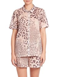 Natori Exotic Animal Print Short Pajamas Leopard Pink