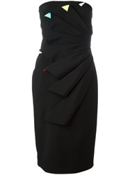 Capucci Pleated Strapless Dress Black