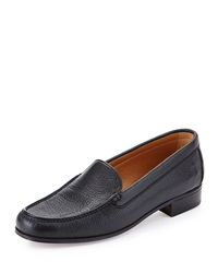 Gravati Pebbled Leather Venetian Loafer Black