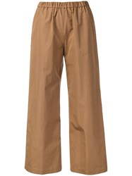 Aspesi Wide Leg Cropped Trousers Brown