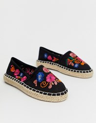 South Beach Embroidered Espadrille In Black