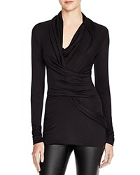 Dylan Gray Jersey Ruched Wrap Top Black