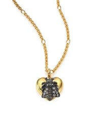 Gucci Bee And Heart Grey Diamond And 18K Yellow Gold Pendant Necklace
