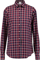 Stella Jean Checked Cotton Twill Shirt Claret