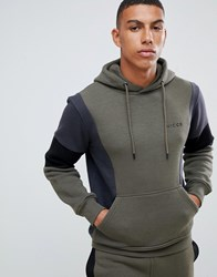 Nicce London Hoodie In Khaki With Contrasting Panels Green