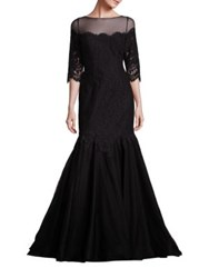 Rickie Freeman For Teri Jon Illusion Neckline Trumpet Gown Black