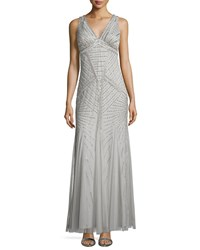 Aidan Mattox Art Deco Beaded Tank Gown Silver