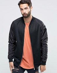 Only And Sons Bomber Sweat With Nylon Raglan Sleeve Black