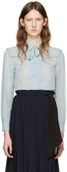 Miu Miu Blue Silk Ruffle Shirt