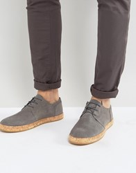 Zign Leather Lace Up Shoes With Cork Soles Grey