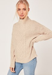 Missguided Turtle Neck Cable Jumper Nude Stone