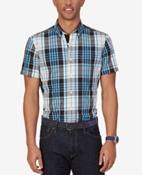 Nautica Men's True Plaid Short Sleeve Shirt True Black