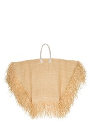 Jacquemus Le Grand Baci Frayed Straw Tote Bag Neutrals