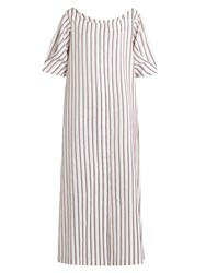 Isa Arfen Bunting Stripe Button Down Cotton Dress White Multi