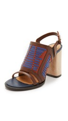 Thakoon Lizzy Wooden Heel Sandals Caoba