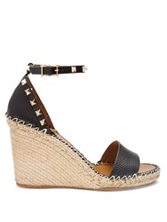 Valentino Rockstud Leather Espadrille Wedge Sandals Black