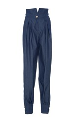 Alexis Mabille High Waisted Chambray Trousers Navy