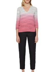 French Connection Space Ribbed Jumper Grey Magenta