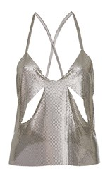 Fannie Schiavoni Cutout Metal Mesh Top Silver