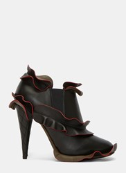 Fendi Ruffled Quilted Heel Ankle Boots Black