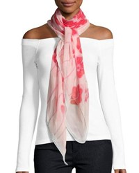 Anna Coroneo Silk Chiffon Square Poppy Scarf Red