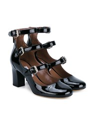 Tabitha Simmons Ginger Patent Leather Triple Strap Pumps Black Ginger Silver White
