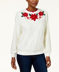 Alfred Dunner Petite Layered Look Poinsettia Anti Pill Sweatshirt Ivory