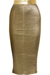 Markus Lupfer Brana Leather Trimmed Pleated Lame Skirt Gold