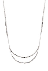 Forever 21 Wire Wrapped Bead Layered Necklace Silver Dark Grey