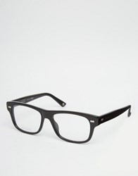Gucci Square Clear Lens Glasses In Black Black
