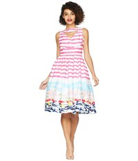 Unique Vintage Shelly Swing Dress Pink White Seaside Print Multi