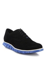 Cole Haan Grand Os Wingtip Suede Oxfords Black