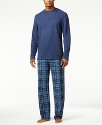 Club Room Men's Blue Faux Fleece Pajama Set Only At Macy's Blue Mcabe