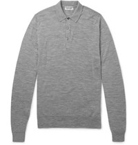 John Smedley Slim Fit Merino Wool Polo Shirt Gray