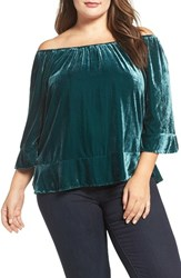 Democracy Plus Size Women's Velvet Off The Shoulder Flounce Hem Top
