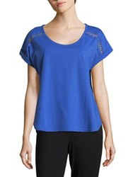 Karen Neuburger Cut Out Short Sleeve Tee Blue