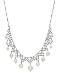 Macy's Pearl Lace By Effy Cultured Freshwater Pearl Necklace In Sterling Silver 4 1 2Mm 8 1 2Mm White
