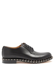 Valentino Micro Rockstud Leather Derby Shoes Black