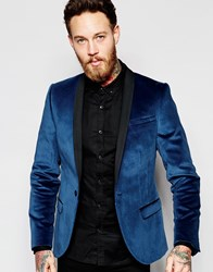 Noose And Monkey Velvet Blazer In Skinny Fit Blue