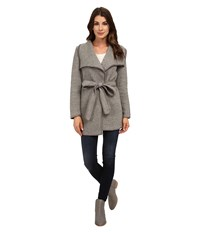 Calvin Klein Slub Wrap Jacket W Belt Tin Women's Coat Gray