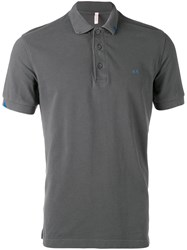 Sun 68 Contrast Logo Polo Shirt Men Cotton Xl Grey