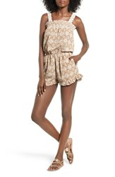 Mimi Chica Women's Crochet Trim Print Smocked Romper Natural