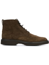 Hogan Brogue Detailing Ankle Boots Brown