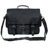 Mahi Leather Large Harvard Satchel Messenger School Work Bag In Ebony Black